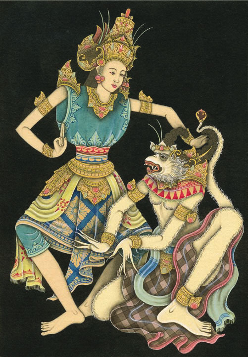 देवी सीता एवं हनुमान, बाली द्वीप चित्रण । चित्र स्रोत : Michael A Schillaci University of Toronto | U of T · Department of Anthropology