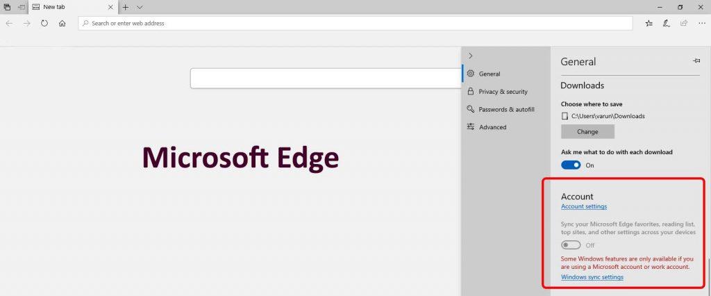 Browser synchronization Microsoft Edge
