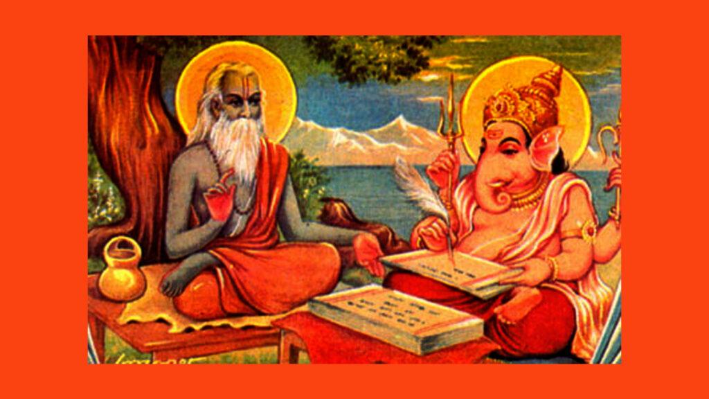 krishna dvaipayan vyasa narrating mahabharata ganesha writing