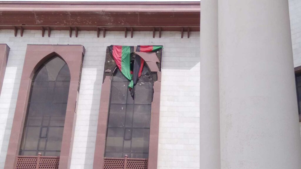 Afghan Parliament – Window destroyed by Taliban's rocket.